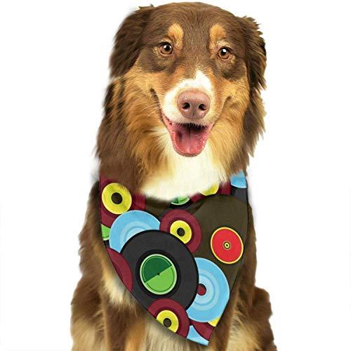 Gxdchfj Vinyl The DJ Pattern Stylish Dog Bandana Pet Dog Cat Neckerchief Dog Scarf -