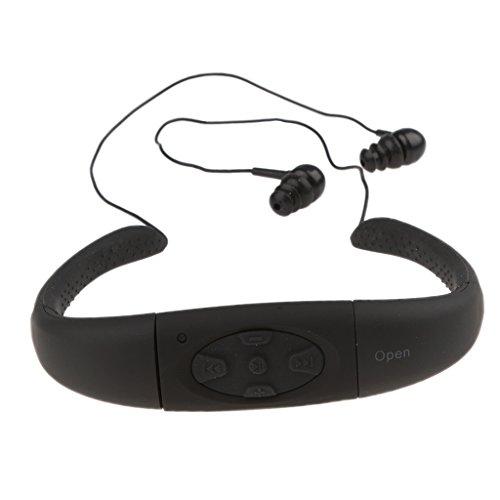 MagiDeal Wasserdichte Headset Ohrbügel Hörmuschel mit MP3 Player für Schwimmen, Surfen - Schwarz - 8G