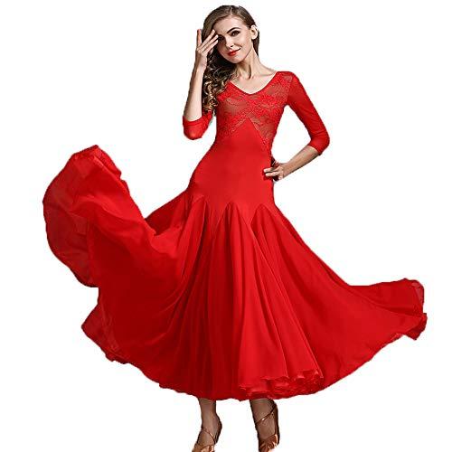 Liu Sensen Latin Dance Kleid Bauchtanz Rock Net Tuch Lange Ärmelkleid V-Hals Brust Spitze Rote Lacy Ballroom Tanz Professionelle Tänzer Kostüm Große Größe XL 2XL,S -
