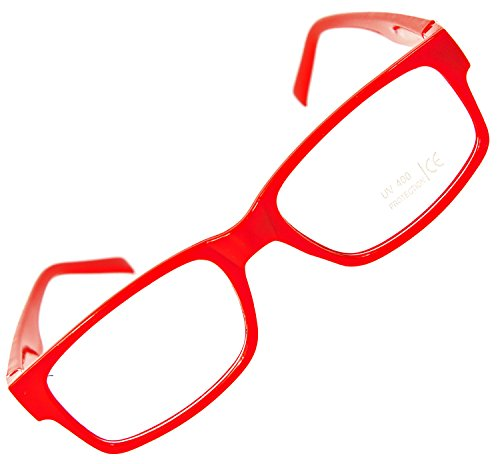 Nerd-Brille ohne Sehstärke Slim Fit Geek-Brille schmal Party-Brille Rot Damen Herren Lese-Brille Glas