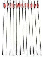 Junding 12pcs 32'' Flèches en Carbone Pur avec Plume naturelle de 4'' Rouge-Noir