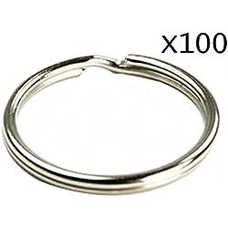 Runfon Lot de 100 anneaux porte-clés en acier trempé nickelé 25 mm