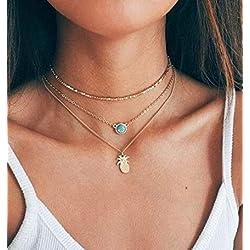 IMBSB Collar de cadena de clavícula de múltiples capas pendiente de zafiro y piña (oro)
