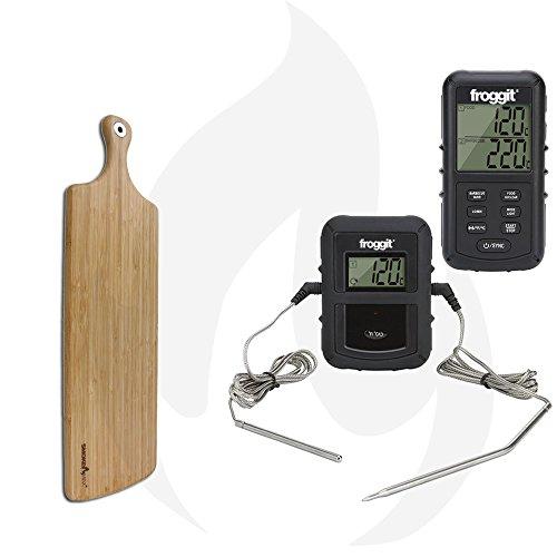 Smoke Max® Barbecue Set - Smoke Max® PRO sans fil Thermomètre + Smoke Max® L Plateau Planche à découper Design Planche à Découper en Bambou 100% naturelles