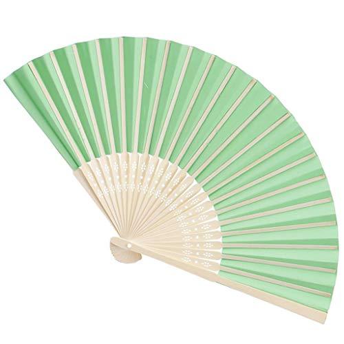 Poualss 5 Stücke Handheld Falten Papier Fans Bambus Rahmen Tanzen Fans für Kirche/Hochzeit Requisiten, DIY Geschenke Dekor