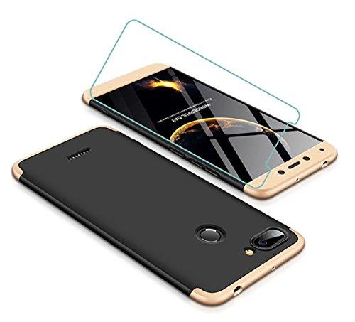 Joytag Funda Xiaomi Redmi 6 360 Grados Oro Negro Ultra Delgado Todo Incluido Caja del teléfono de la protección 3 en 1 Case+Protectora de película de Vidrio Templado Oro Negro