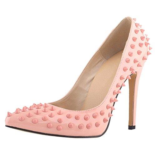 Oasap Femme Chaussure A Talons Hauts Pointu Talons Aiguilles Rivet Décoration pink