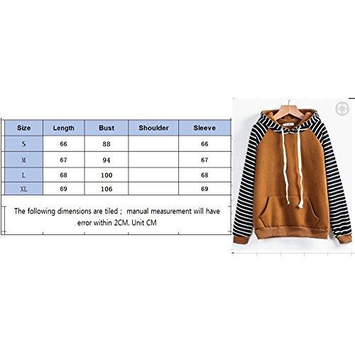 Hoodies Femmes Blouses Automne Manteaux Toison T-shirts Rayé Sweatshirts Chaud Tops Mode Manches Longues Vert Rose Kaki Noir S-XL hibote Noir
