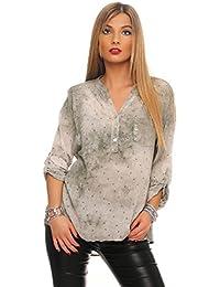 Mississhop Damen Gepunktete Bluse Hemd mit Muster Langarm Shirt Top  Longshirt mit Glitzer Pailletten Details 3817c665e9
