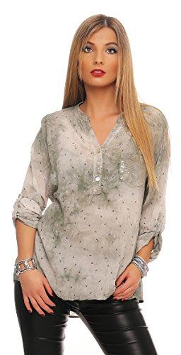 Mississhop 152 Damen Gepunktete Bluse Hemd mit Muster Langarm Shirt Top Longshirt mit Glitzer Pailletten Details Oliv Batik mit Anker Print