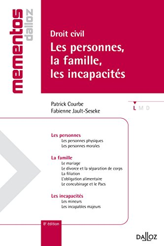 Droit civil. Les personnes, la famille, les incapacités - 8e éd.: Mémentos