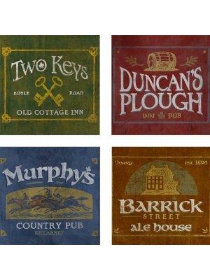 Irish Pubs Coasters - Set Of 4 - Pub Coaster Set
