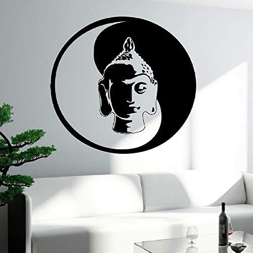 wukongsun Vinyl Wand Applique Buddha Buddha wandaufkleber Yoga Coole Kunst für Wohnzimmer Buddha Kunst wandbild für Familie Schlafzimmer Dekoration schwarz 61x57 cm