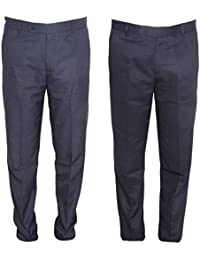 IndiWeaves Rayon Regular Fit Formal Trouser For Mens(Pack Of 2)_Navy Blue::Navy Blue_Size-36
