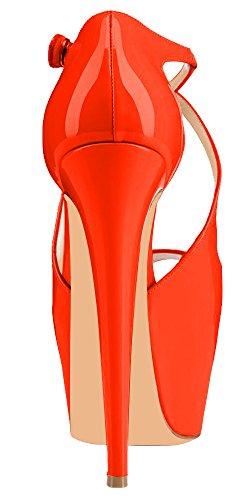 MONICOCO Mehrfarbig Criss Cross Peep-Toe Plateau Button Stiletto für Party Club Orange Lackleder