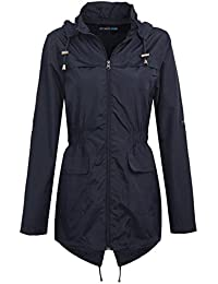afe927b9e MyShoeStore Ladies Women Rain Mac Raincoat Showerproof Fishtail Cagoule  Kagool Kagoul KAG Festival Parka Jacket Hooded