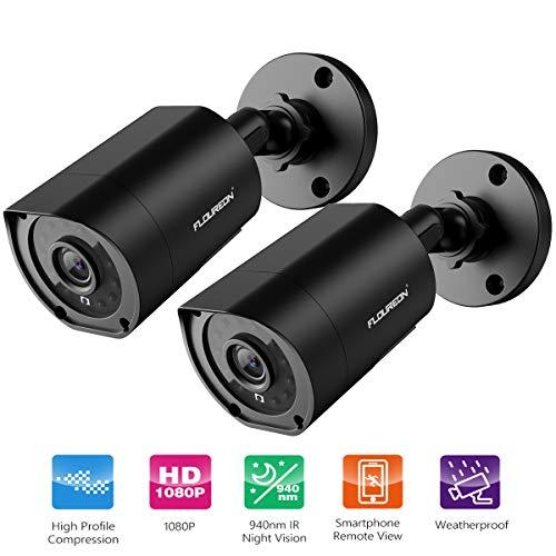 FLOUREON 1080P CCTV Telecamera Bullet di Sorveglianza AHD per Kit Videocamera DVR Videosorveglianza con Telecamera di Sicurezza Plastica 940nm Invisibile IR Night Vision, IP66 (2PCS)