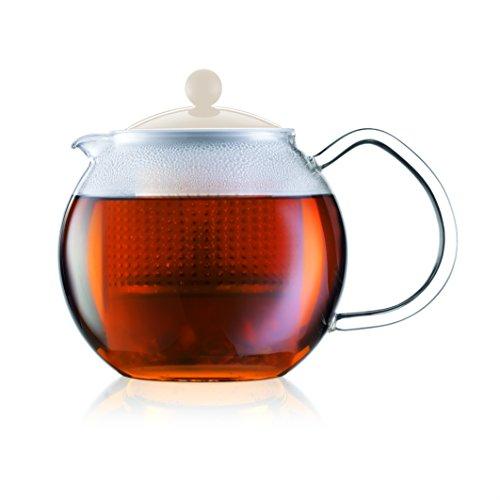 Assam: teiera con manico in vetro e coperchio colorato, 1.5 l