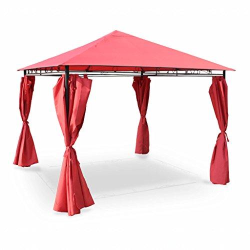 Alice's Garden Tonnelle 3 x 3 m - Tolosa - Toile Rouge - Pergola avec Rideaux, Tente de Jardin, Barnum, chapiteau, Réception