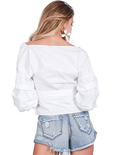 Simplee Apparel Damen Frühling Sommer Reizvoll Gitter Muster Schulterfrei Lampion Ärmel V-Ausschnitt Bluse Weiß Rosa Weiß
