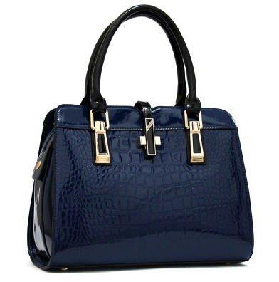 Vezela PU leather Top Handle Satchel Hand Bag - Sapphire Blue, Crocodile Pattern Hand bags for Women & Girls