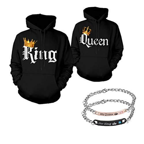 918coshiert Pärchen Pullover & Armbänder Set King Queen Hoodies & Armband Paar Sweatshirts Set (Herren XXL+Damen S Schwarz)