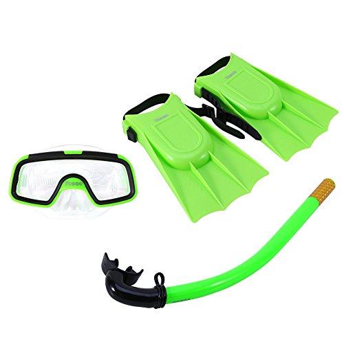 Bnineteenteam Kids Seaview Snorkel Set, Ensemble de plongée en Silicone pour Enfants avec ailerons en Silicone, Masque de plongée et Masque de plongée pour Les Enfants âgés de 3 à 4 Ans (Vert)