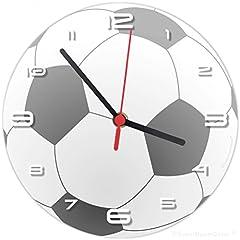 Idea Regalo - SuperDuperDecor calcio orologio da parete (si abbina alla ragazze dei bambini camera da letto Decor) palla da calcio Nero