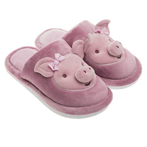 BoyYang Kinder Hausschuhe Plüsch Kinderschuhe Winter Baumwolle Pantoffeln Cartoon Schwein Warme Weiche rutschfeste Sohle für Kleinkinder Niedliche Hüttenschuhe für Mädchen und Jungen(34 EU,Lila