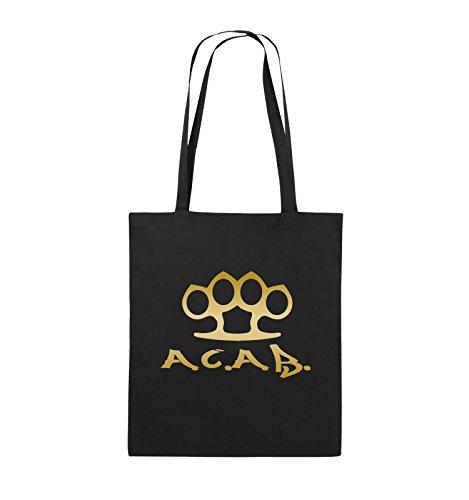 Comedy Bags - A.C.A.B. - SCHLAGRING1 - Jutebeutel - lange Henkel - 38x42cm - Farbe: Schwarz / Pink Schwarz / Gold
