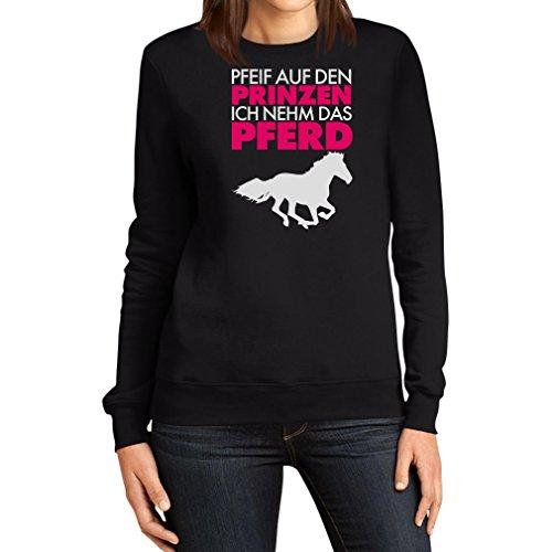 Prinz ich nehm das Pferd Spruch weiß Frauen Sweatshirt Small Schwarz (Günstige Pferd-kostüm)