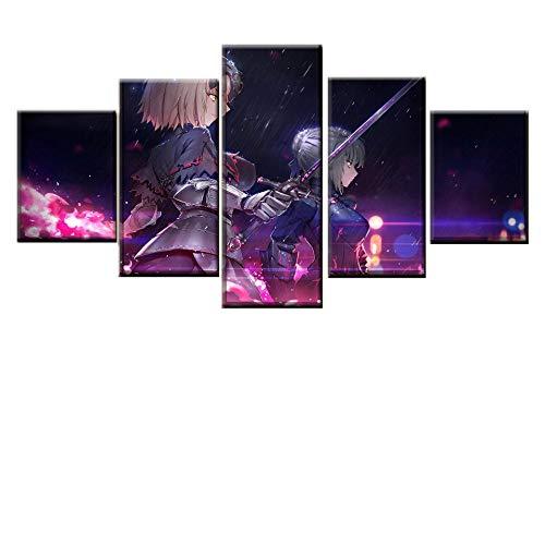 CANPIC Leinwanddruck Poster Wand Modulare Bild 5 Panel Schicksal Großen Auftrag Anime Malerei Moderne Wohnkultur Wohnzimmer Kunstwerk, Framed 20X35 20X45 20X55cm