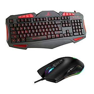 Gaming-Tastatur- und -Mauskabel, Gaming-Maus mit 3200 DPI, 8 Multimedia-Tasten und 19 Anti-Ghost-Tasten für Windows/Vista/Linux/Mac (2019, schwarz)