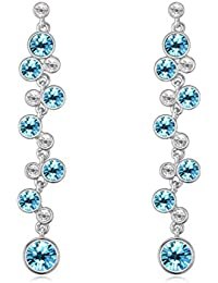 NEVI Long Dangling Swarovski Crystals Rhodium Plated Earrings Dangle & Drop Jewellery For Women And Girls (Blue...