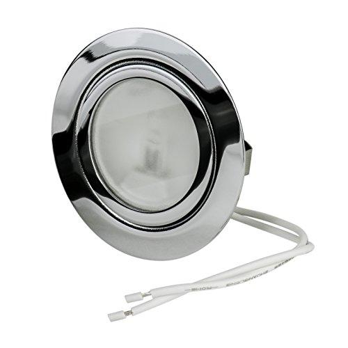 Set Möbeleinbauleuchte | 12Volt AC G4 20Watt Leuchtmittel inklusive (dimmbar) | Bohrloch: 55-58mm - Außendurchmesser: 68mm - Einbautiefe: 19mm | Leuchtmittel austauschbar - auch für LED geeignet