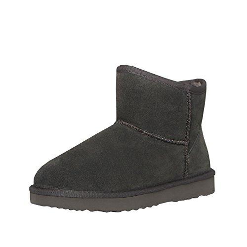 SKUTARI® Classic Boots, Wildlederstiefel mit kuscheligem Kunstfell, gemütliche Damen-Stiefel aus Leder, handgefertigt in Italien, Winterschuhe, Schlupfstiefel, Stiefeletten warm gefüttert(39 EU, Grau)