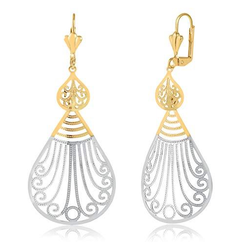 Gold Plated Gold and Silver Swirl Filigree Teardrop Earrings International Silver Swirl