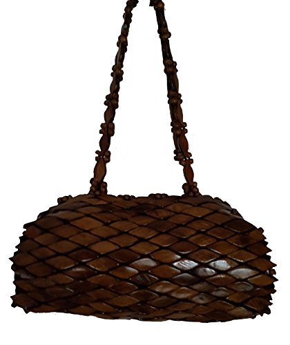 Handtasche aus Holz – Elegante Baquette-förmige Damen-Handtasche in braun. Handgefertigt aus robustem Holz-Mosaik 25 cm x 15 cm x 10 cm