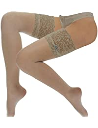 Deep Lace top Hold Ups with Blue Bow for women, White,Natural, Ivory