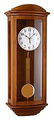 Idea Regalo - N-2220-11 Orologio a pendolo in legno da parete con movimento al quarzo radiocontrollato suoneria wenstminster