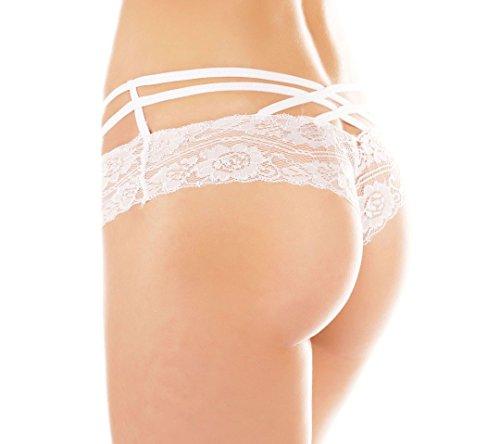 Damen extravaganter Spitzen String-Panty, in 5 verschiedenen Farben, One Size Weiß