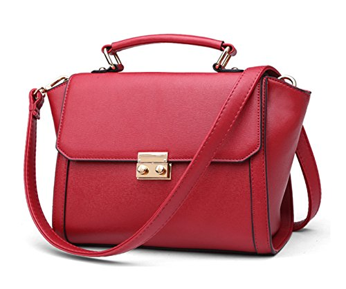 Longzibog Dual verstellbare Schultergurte und H?ngeschlaufenband Mode Simple Style Fashion Tote Top Handle Schulter Umh?ngetasche Satchel Weinrot