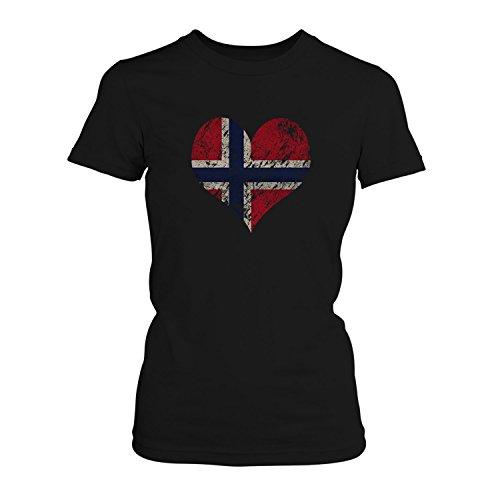 Fashionalarm Damen T-Shirt - I Love Norway | Fun Shirt Trikot mit Vintage Flagge Print Fußball & Norwegen Fans | Lofoten Nordkap Urlaub | EM & WM, Farbe:schwarz;Größe:3XL (Norwegen Fußball Trikot)