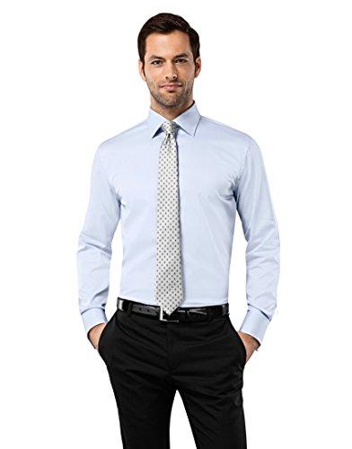 Vincenzo Boretti Herren-Hemd bügelfrei 100% Baumwolle Slim-fit tailliert Umschlagmanschette Uni-Farben - Männer lang-arm Hemden für Anzug mit Krawatte Business Hochzeit eisblau 37/38