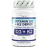 Vit4ever® Vitamin D3 10.000 I.E + Vitamin K2 200 mcg Menaquinon MK7 Depot - 180 Tabletten - 99,5% All-Trans (K2VITAL® von Kappa) - Laborgeprüft - Vegetarisch - Hochdosiert - Premium Qualität