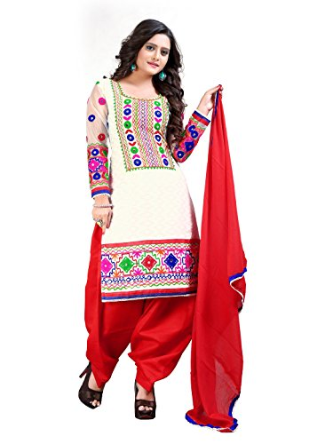 Jambudi Creation Red And White Cotton Embroidery Punjabi Suit With Patiala Semi Stitched Salawar Suit