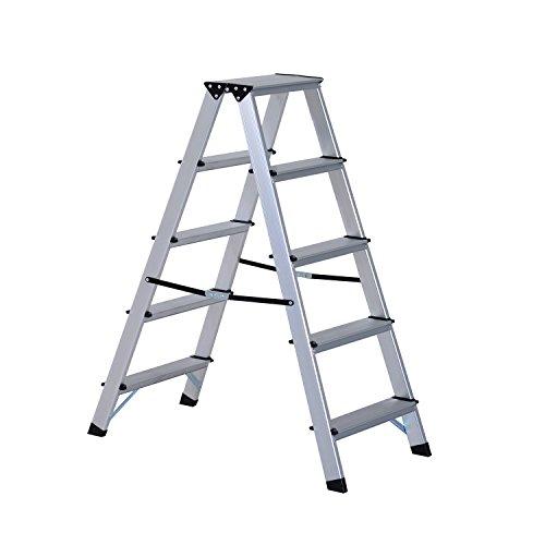 HOMCOM Escalera de Tijera Aluminio Plegable Escalera Doméstica de Mano Ambos Lados 5 Peldaños Carga 150kg
