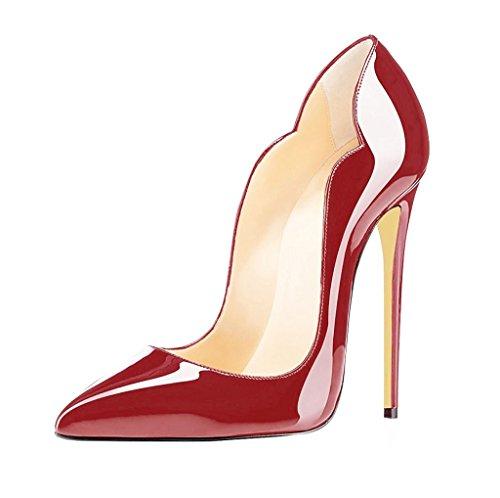 EDEFS Bordeaux Femmes 12 Talon Escarpins Chaussures CM Taille à 35 Stilettos 45 Aiguille Elegant OOYwq4xrd
