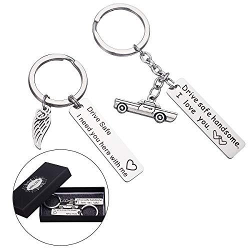 MELLIEX Drive Safe Schlüsselanhänger Fahr Vorsichtig Schlüsselbund Auto Anhänger Für Trucker Vater Ehemann Mann Freund Fahrer, 2 Stücke