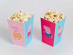 Party Propz™ Peppa Pig Popcorn Box 10 Pcs / Peppa Pig Popcorn Box for Birthday Party / Peppa Pig Birthday Party Decoration / Peppa Pig Decorations for Kids